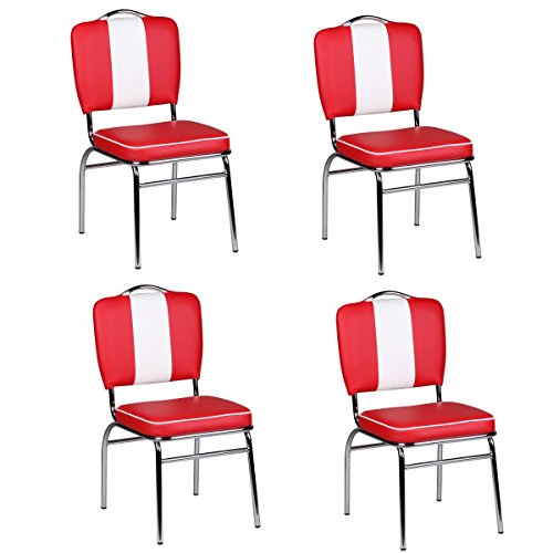 FineBuy 4er Set Esszimmerstühle King American Diner 50er Jahre Retro 4 Stühle | Sitzfläche gepolstert mit Rücken-Lehne | Essstuhl Sitzhöhe 76 cm | Farbe Rot Weiß