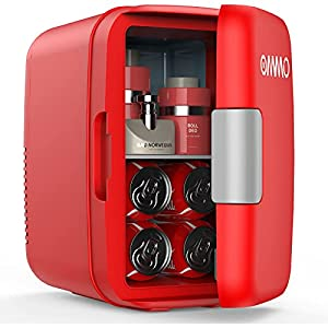 OMMO Mini Fridge, 6 L/8 Can Portable Fridge, Cooler and Warmer Compact Small Refrigerator with AC/DC Power, for Skincare…