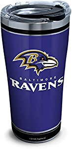 Tervis NFL Baltimore Ravens - Touchdown Stainless Steel Insulated Tumbler with Clear and Black Hammer Lid, 20 oz, Silver