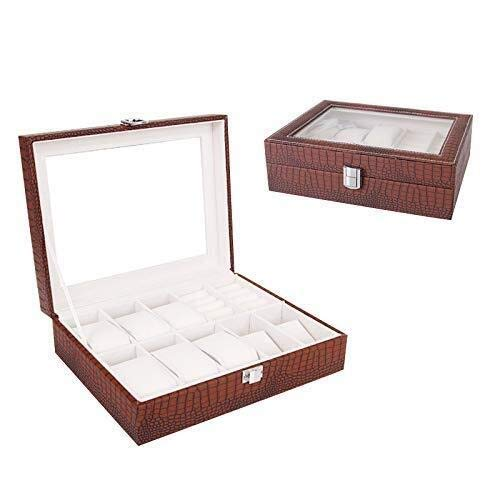SHANCL Caja de reloj elegante para joyas, cuero artificial, organizador de...