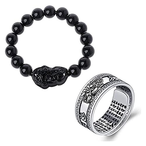 AnimeFiG Unisex Men Pixiu Charms Ring Pulsera China Feng Shui Amulet Wealth y Lucky Open Open Ajustable Anillo Pulsera