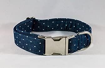 Preppy Blue Chambray Polka Dot Dog Collar