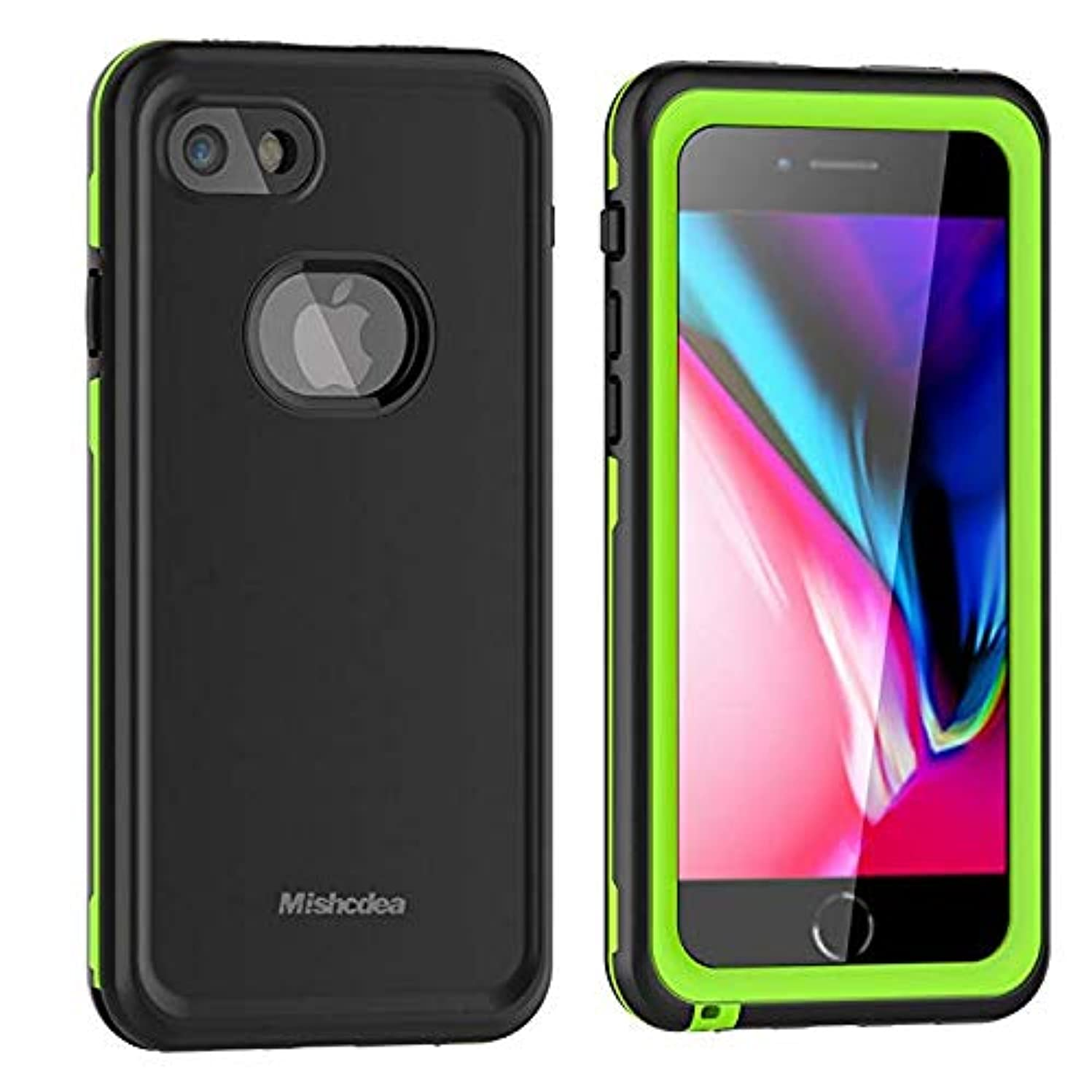 Waterproof Case Suitable for iPhone 7/8, Mishcdea Phone Case Shockproof Snow-Proof Dirt-Proof Full Body Phone Protector Cover - Green