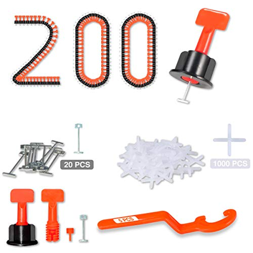 """Tile Leveling System 1/16"""" Kit Reusable, 200pcs Tile Leveler Spacer with 1000pcs 1/12"""" Tile Spacers, 5pcs Wrench and 20pcs 1/16"""" Replaceable Spare Steel Pin"""