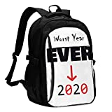 2020 Worst Year Ever Travel Laptop Backpack School Bag Outsdoors Sling Bag with USB Charging Port Anti-Theft Men's and Women's Backpacks