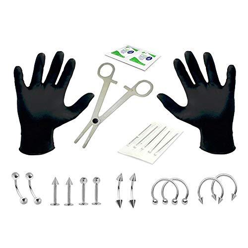 Metermall 20pcs/set Disposable Piercing Kit Sterile Needle Nipple Tongue Body Ring Tool Photo Color 14G