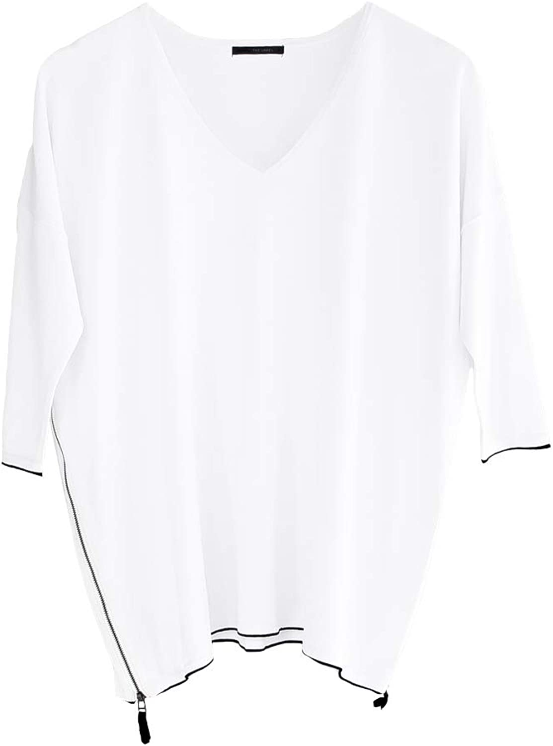 Lounge The Label Tunic Saba  White Long Sleeve Top, Loose Fit, Casual Blouse
