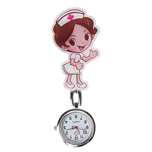 WYZQ Reloj de Bolsillo y Cadena, Reloj de Enfermera Acrílico Cuarzo Dibujos Animados Cofre Colgante Clip Colgante Joyas Encanto Mujeres Niñas Doctor Reloj de Bolsillo Portátil Hospital Moda Pers