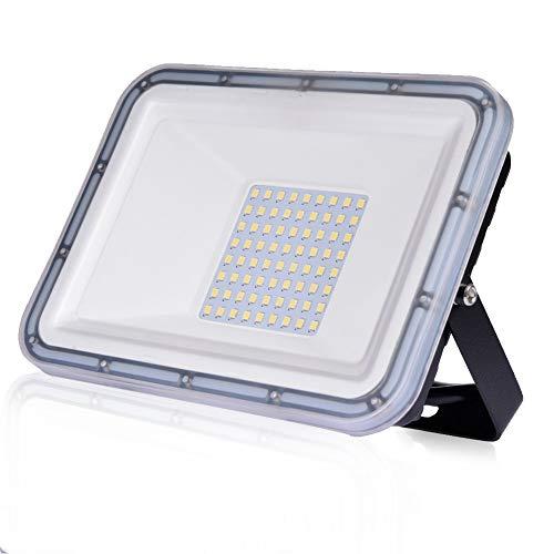 Faro LED da 50W Ultra sottile di sicurezza IP67 impermeabile 4500 lm Faretto LED da Esterno 6500K Luce Bianca Fredda per giardino, cortile, garage, parcheggio, magazzino [classe energetica A++]