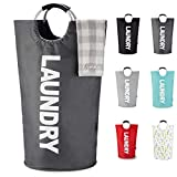 Caroeas 90L X-Large Laundry Basket (7 Colors), Waterproof Laundry Hamper, Laundry Bag with Padded Handles, Clothes Hamper Stands Up Well, Collapsible Laundry Basket Easy Storage(Dark Grey)