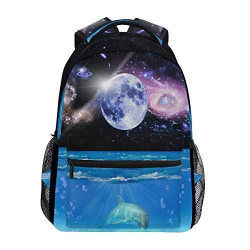mnsruu Galaxy Space Delphin Fish Rucksack Daypack College Schule Reise Schultertasche