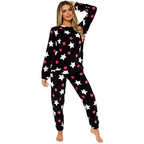Style It Up - Pigiama da donna con stampa con animali, caldo e soffice, abbigliamento per la notte Pigiama Black Star 36/38 IT Small