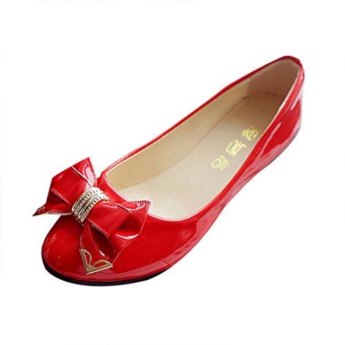 Klassische Damen Ballerinas Übergrößen Schuhe Elegante Slippers Stoffschuhe Metallic Schuhe Spitze Schuhspitze Abendschuhe Slipper Party Schuhe Geschlossene LMMVP (40EU, Rot)