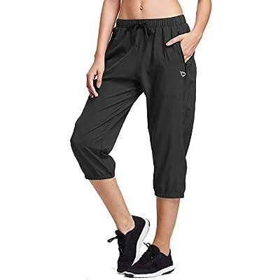 BALEAF Women Lightweight Capri Jogger Hiking Shorts Running Capri Pants Woven Quick Dry Pockets Black XX-Large