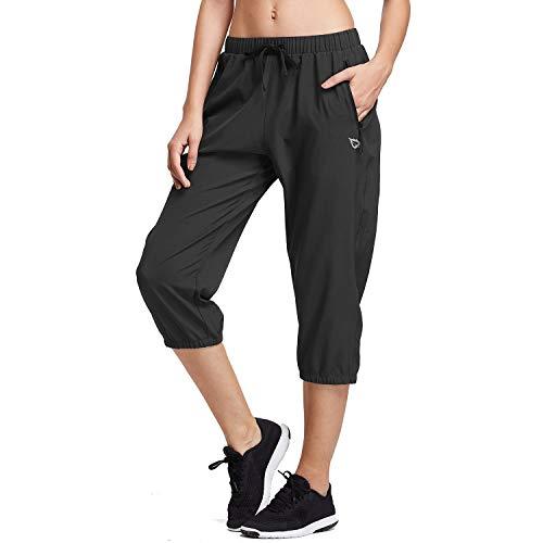BALEAF Women Lightweight Capri Jogger Hiking Shorts Running Capri Pants Woven Quick Dry Pockets Black Large