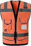 PATAWFFF Chaleco de Seguridad Ropa de Trabajo Chalecos Chaleco Reflectante Chalecos Reflectantes de Advertencia de tráfico Chalecos Multibolsillos (Color : Orange, Size : L)
