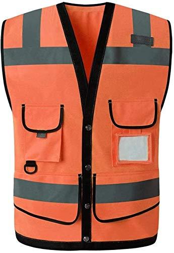 PATAWFFF Chaleco de Seguridad Ropa de Trabajo Chalecos Chaleco Reflectante Chalecos Reflectantes de Advertencia de tráfico Chalecos Multibolsillos (Color : Orange, Size : XL)