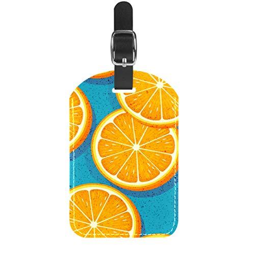 ATOMO Leather Luggage Bag Tags Juicy Lemon Slice Pattern