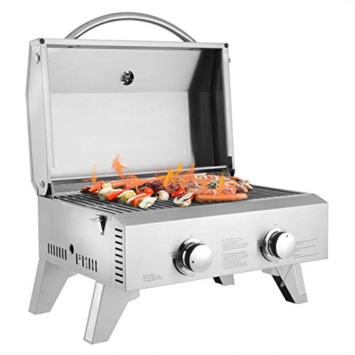 MITPATY Portable Stainless Steel 2-Burner Gas Grill 2000 BTU BBQ Grid with Foldable Legs - Outdoor Pizza Oven Fired Wood Charcoal Cooker Camping Stove Multifunction Cooking Ovens Grills Propane