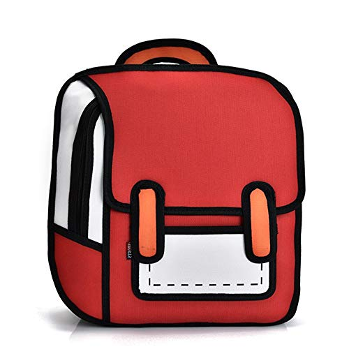3D Style 2D Drawing Cartoon Bag Comic 3D Shoulders Bag Backpack (Red)