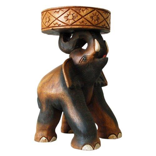 Wilai Beistelltisch Elefant Elefantentisch Podest Blumenständer Hocker Wohnzimmer Holztisch