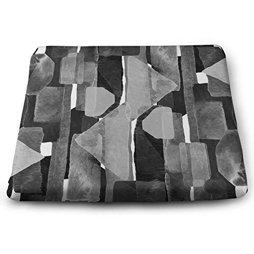 Abstrakte Kunst Stuhlkissen Geometrisch Schwarz Weiß Artwork Bauhaus Kubismus Geometrisches Sitzkissen Rutschfest Memory Foam Stuhlbezug Pads für Home Office 38,1 x 34,9 cm