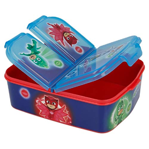 PJ Masks Kinder Premium Brotdose Lunchbox Frühstücks-Box Vesper-Dose mit 3 Fächern BPA-FREI