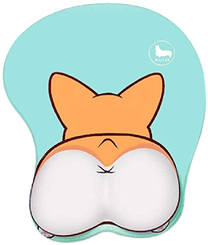 123Arts 3D Funny Corgi Butt Shape Silicone Mouse Pad Mouse Mat- 8.6X10.2 Inch