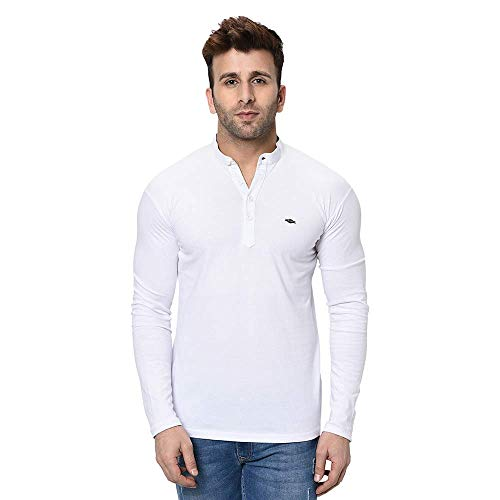 Fashitude Men's Solid Mandarin Collar Full Sleeve T-Shirt (X-Large) White