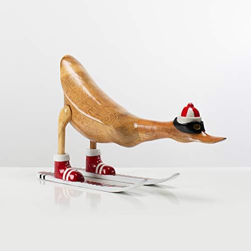 Rikmani - Figura di legno anatra sciatore Austria rosso - Decorazione fatta a mano in legno figura regalo 46 cm
