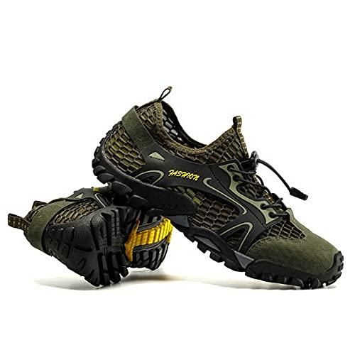 Zapatillas de Aguas Arriba,Zapatillas de Agua de Secado Rápido para Hombre,Zapatillas de Senderismo Transpirables para Caminar,Zapatillas de Ciclismo de Travesía de MontañIsmo Playa,Green-40