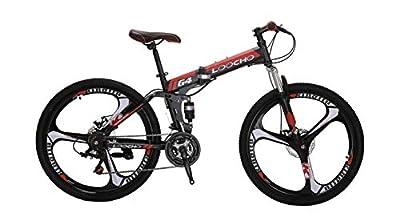 LOOCHO 21 Speed Foldable Mountain Bike 26 Inches 3-Spoke Wheel Dual Suspension Dual Disc Brake MTB Tire Bicycle (red)
