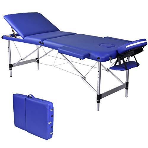 Wellhome Mesa de Masaje de 3 Secciones Aluminio Camilla Cama Portatil Plegable Ligera Camillas Masajes de Profesional Altura Ajustable con Reposacabezas, Apoyabrazos, Bolsa de transporte (Azul)
