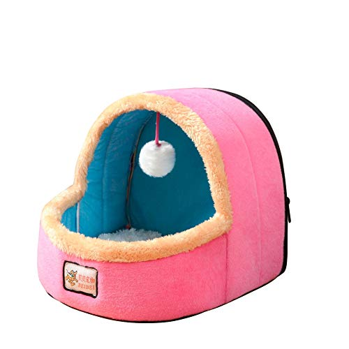 MeterMall Home For Mini Ger Shape Warm Pet Plush Nest Tent with Haning Ball for Cats Dogs Pink L