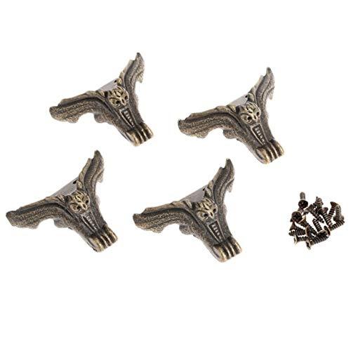 Die Halterung ist auf rechten Winkeln und Ecken befestigt 4Pc Möbel Dekorative Metallecken Schmuckschatulle Holz Eckenschutz Antique Corner Chinese Crafts Möbelbeschläge W/Nail (Color : A)