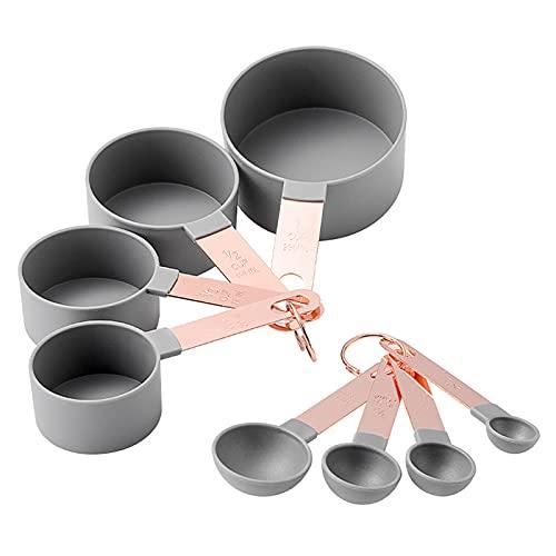 FYting Juego de cucharas medidoras,8 Piezas Tazas medidoras measuring cups Juego de cucharas de tazas de medida apilables de acero medida de nido de cocina para hornear, café, té (rosa, verde, gris)