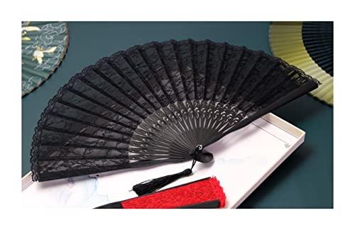 JUSTJUNMIN Ventilatori Pieghevoli Decorativi Ventilatore Pieghevole in Pizzo Cheongsam Ladies Fan Dance Dance Ventola Decorativa Cinese (Color : And Black Face Lace)