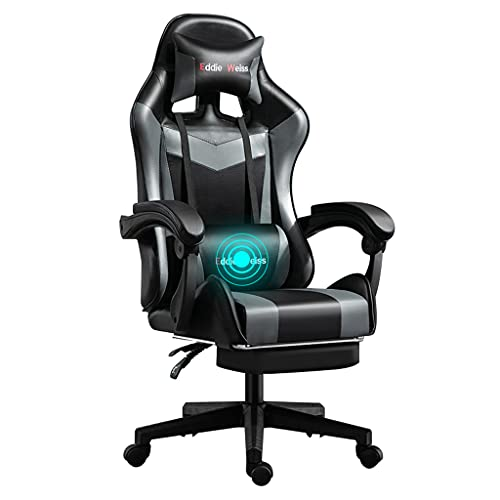 Silla De Videojuego Estilo De Carreras Masaje Silla De Juego Pu Cuero High-back Ajustable Altura Ergonómica Swivel Office Computadora De Escritorio Silla Con Reposapiés Retráctil(Color:Negro gris)