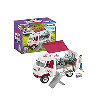 Schleich Horse Club 17-Piece Playset Horse Toys for Girls and Boys 5-12 years old Mobile Vet