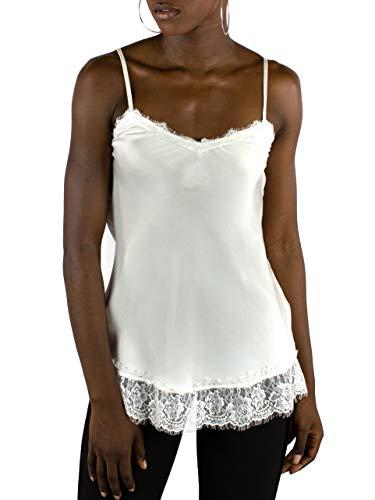 Mer's Style - Top Lencero con Encaje y Tirantes para Mujer, Blanco