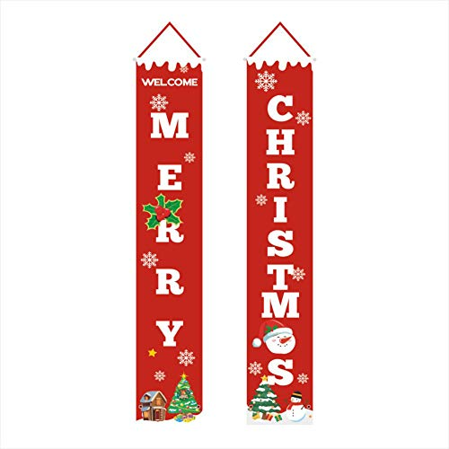 Ruipunuosi Welcome Merry Christmas Banner Christmas Hanging Sign for Indoor Outdoor Door Display Decorations
