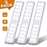 20 LED Motion Sensor Light Under Cabinet Lighting Rechargeable Wireless Battery Operated Homelife Closet Light for Cupboard, Stair, Drawer, 3 Pack