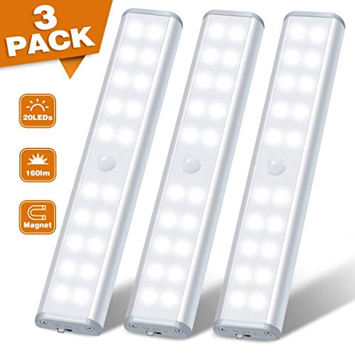 20 LED Motion Sensor Light Under Cabinet Lighting Rechargeable Wireless Battery Operated Closet Light for Cupboard, Stair, Drawer, 3 Pack