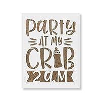 "Party at My Crib ベビーシャワーステンシル - 再利用可能なステンシル - ペイント用 - DIY パーティー ベビー シャワー ホームデコレーション 18""x12"" ホワイト"