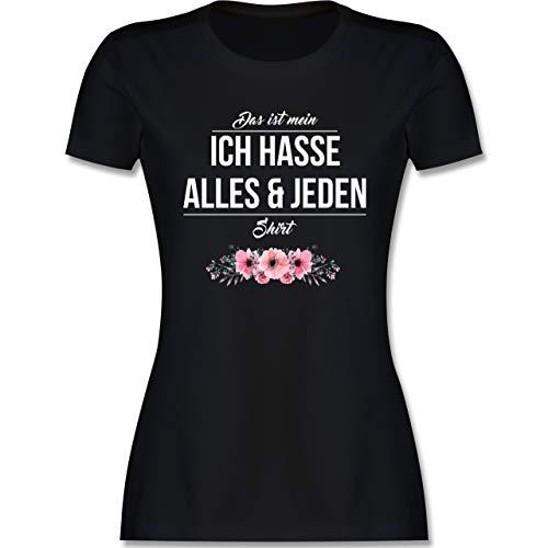 Statement - Das ist Mein Ich Hasse Alles und jeden Shirt - XXL - Schwarz - t-Shirt vegan Frauen - L191 - Tailliertes Tshirt für Damen und Frauen T-Shirt