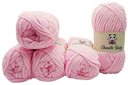 Ilkadim 5 x 100 Gramm Chenille Baby Strickwolle, Babywolle, 500 Gramm Wolle Super Bulky (hell rosa 100-04)