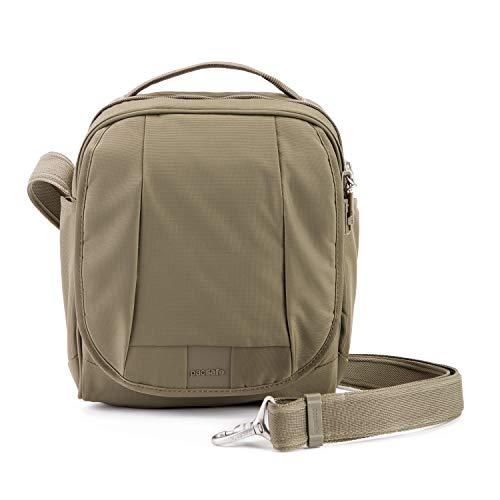 Pacsafe Metrosafe LS200 Anti-Diebstahl Nylon Umhängetasche für Damen und Herren, Schultertasche mit Diebstahlschutz, Tasche mit Sicherheits-Features - 7 L Uni, Beige/Earth Khaki
