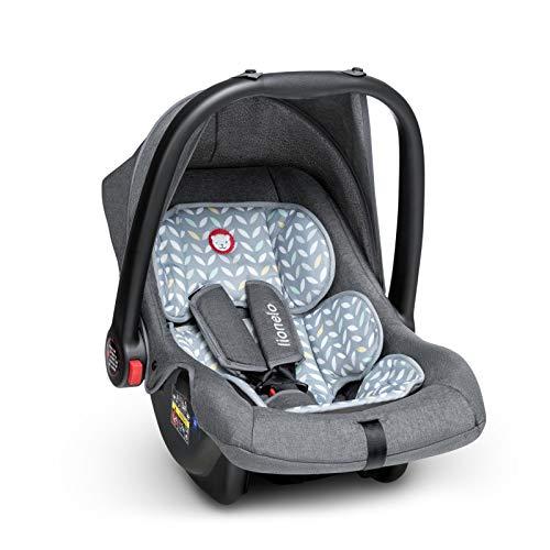 Lionelo Noa Plus Auto Kindersitz Babyschale ab Geburt bis 13 kg Fußabdeckung Sonnendach leichte Konstruktion 3-Punkt-Sicherheitsgurt abnehmbarer Polsterbezug (Grau)