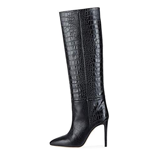 Niuyy Bottes Hautes Femme Mode Talons Hauts Talons Moyen Bottes au Genou Fête Stiletto Boots Élégant Mode Chaussures Bottes Longues Noir,1,15.5