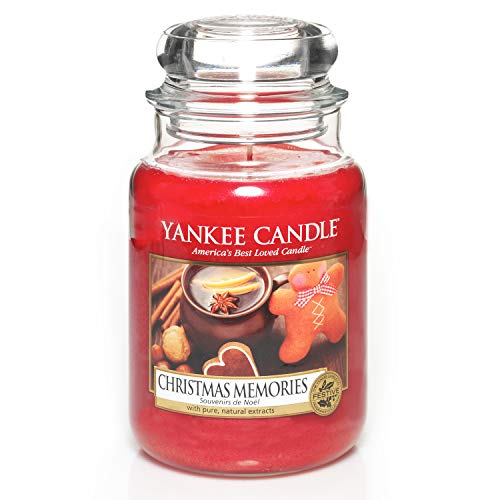 Yankee Candle 1275309E Christmas Memories Candele In Giara Grande, Vetro, Rosso, 10X9.8X17.5 Cm, fragranze naturali